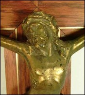 Wall Crucifix Golden Spelter Bronze on Rosewood Cross